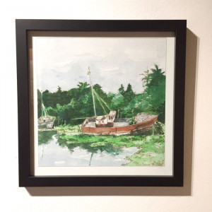 Aquarelle Cimetière à bateaux du Diben