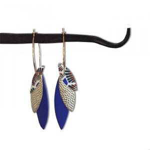 Boucles d'oreilles créoles en cuir (bleu)