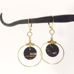 Boucles d'oreilles créoles en liège et or