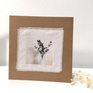 """Carte photo sur lin """"Eucalyptus"""""""